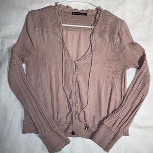Abercrombie women's long sleeve blouse pink medium